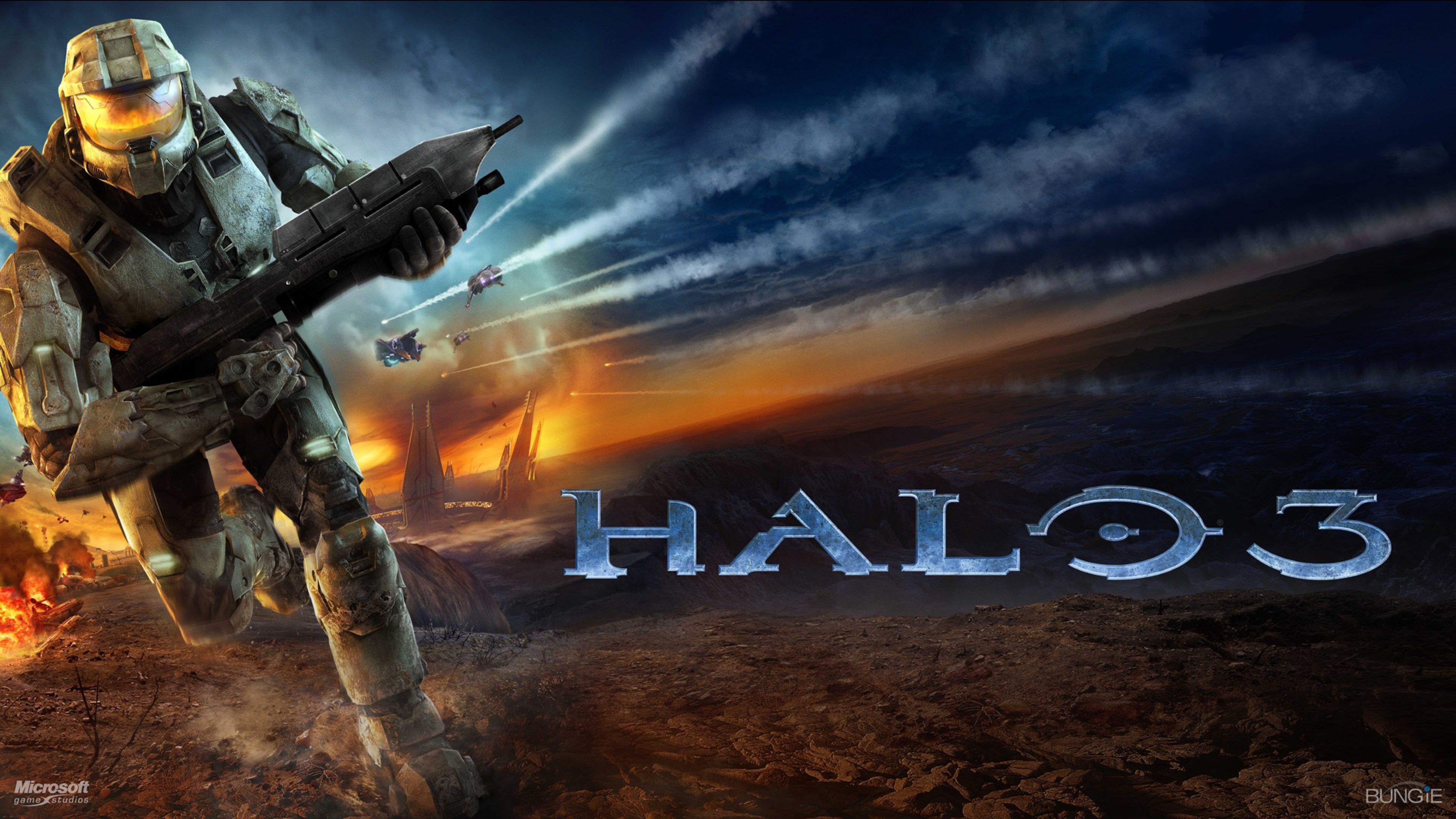 Free Download Halo 3 Soldier Run Sky Explosion Wallpaper