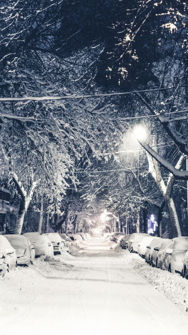 Wallpaper New York winter 4k 5k snow street OS 12802 640x1138