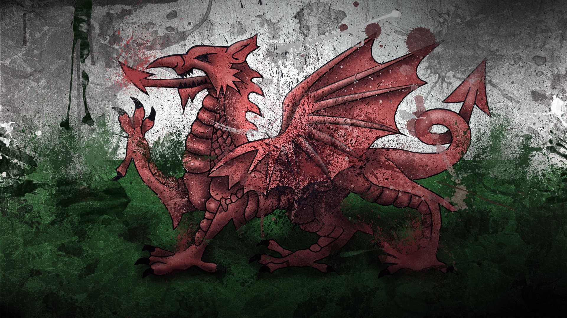Download wallpaper 1920x1080 wales dragon symbol flag paints 1920x1080