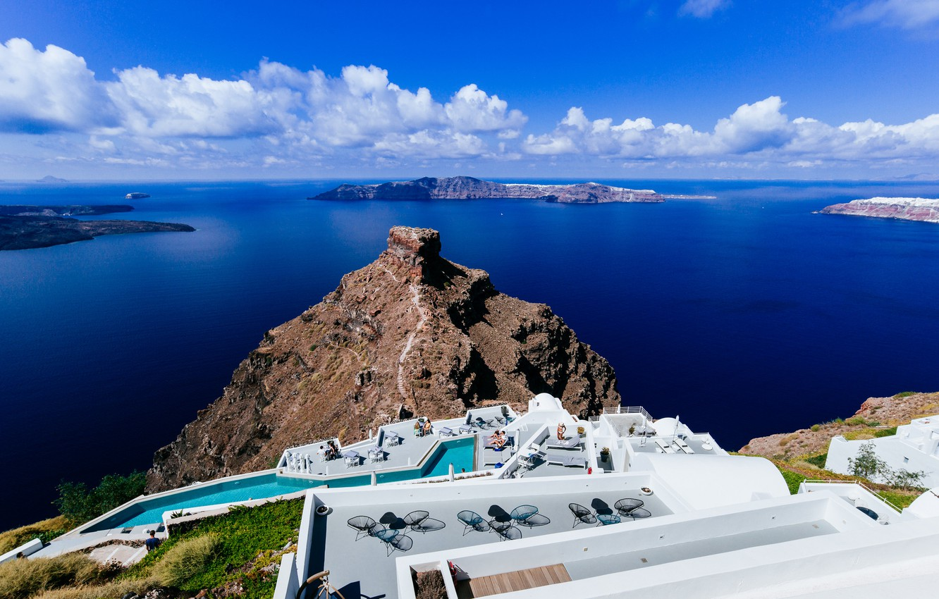 Wallpaper sea the sky stay island Santorini Greece the hotel 1332x850
