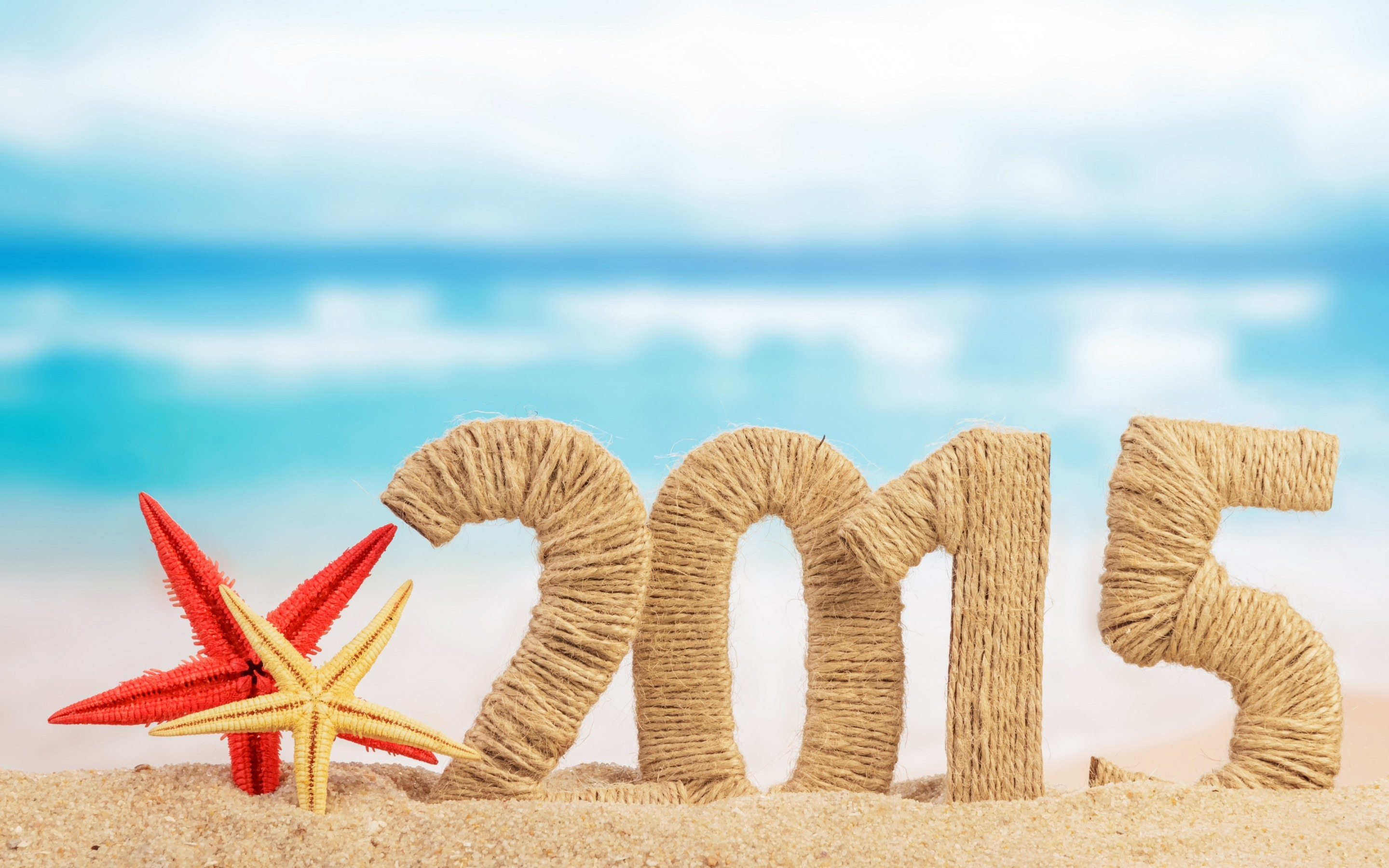 Happy New Year Beach Woolen Art 2015 Wallpaper   Happy New Year 2015 2880x1800