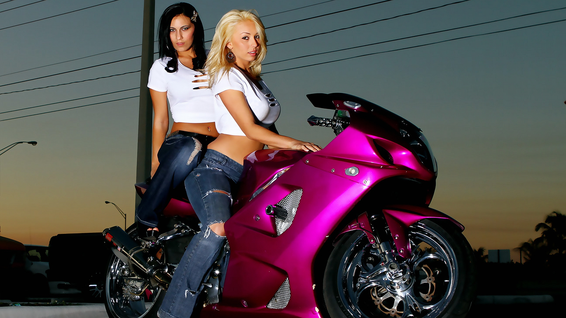 Girls And Sports Bike Pink Wallpapers 1920x1080