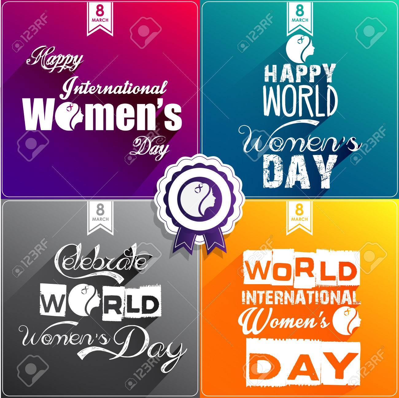 Happy Womens Day Flat Design Greeting Card Gift Card Wallpaper 1300x1297