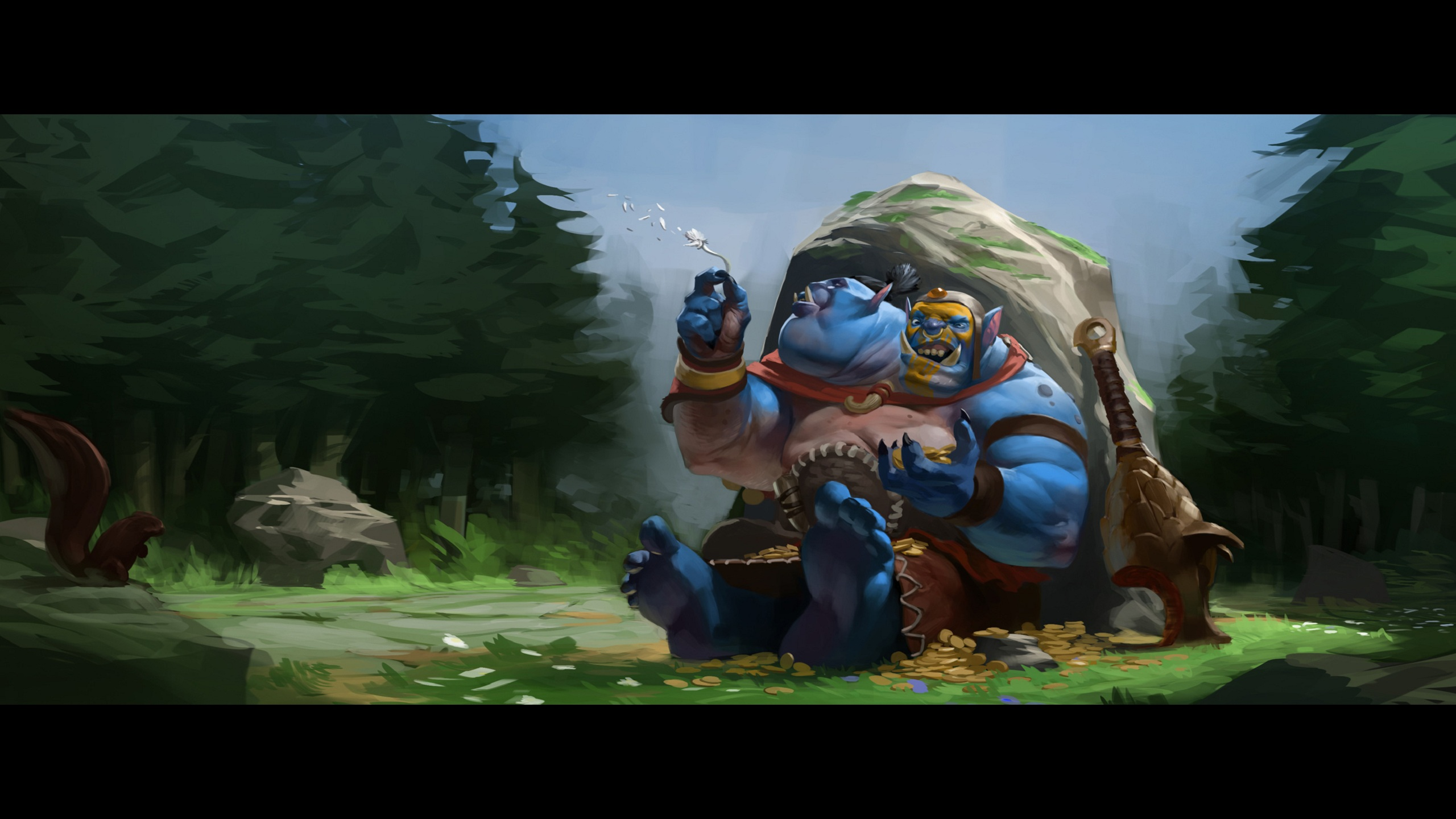 Aggron Stonebreaker the Ogre Magi  Dota 2 Wallpaper 2560x1440
