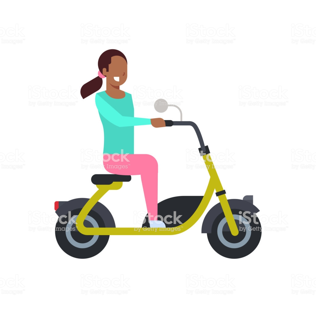 African Girl Riding Electric Scooter Over White Background 1024x1024