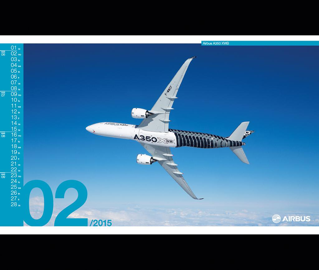 Airbus on Twitter New month new calendar A350 XWB February 1024x868