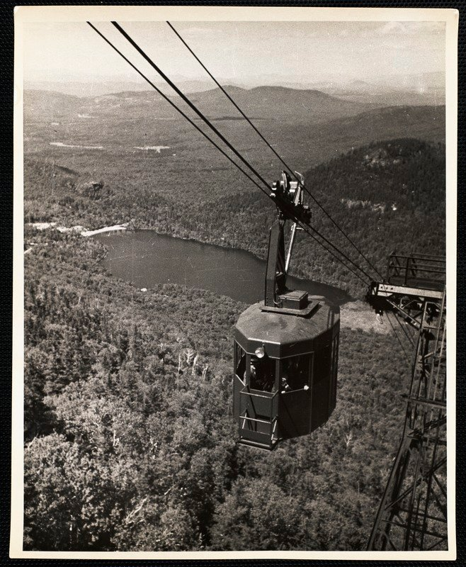 Aerial Tramway Cannon Mt NH Echo Lake in background   Digital 658x800