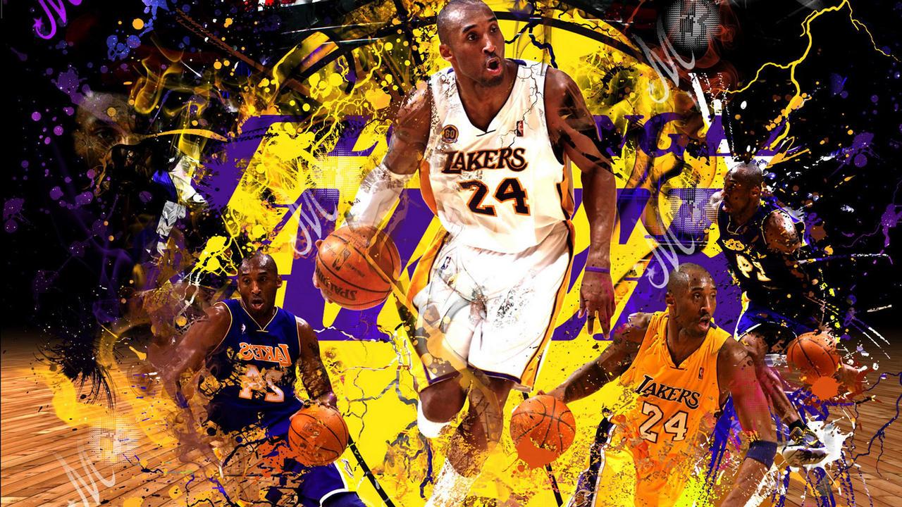 Kobe Bryant Wallpaper Dribbling Man Lakers Color As Background 1280x720