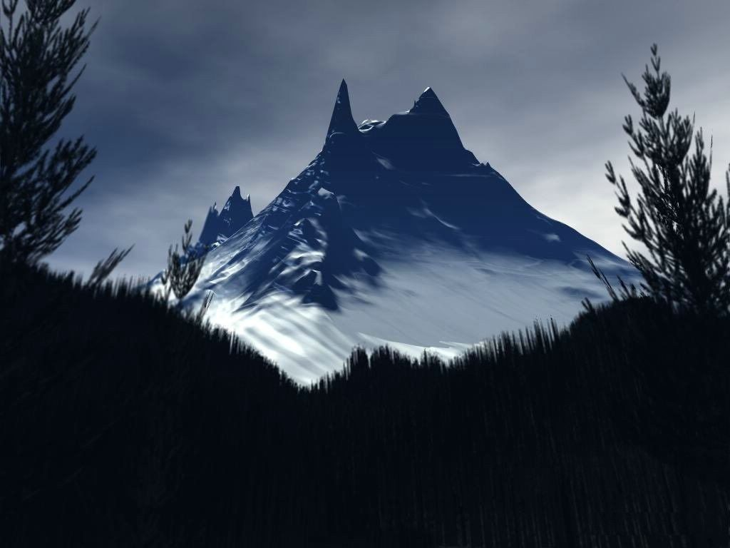 3D Mountain wallpaper 1024x768