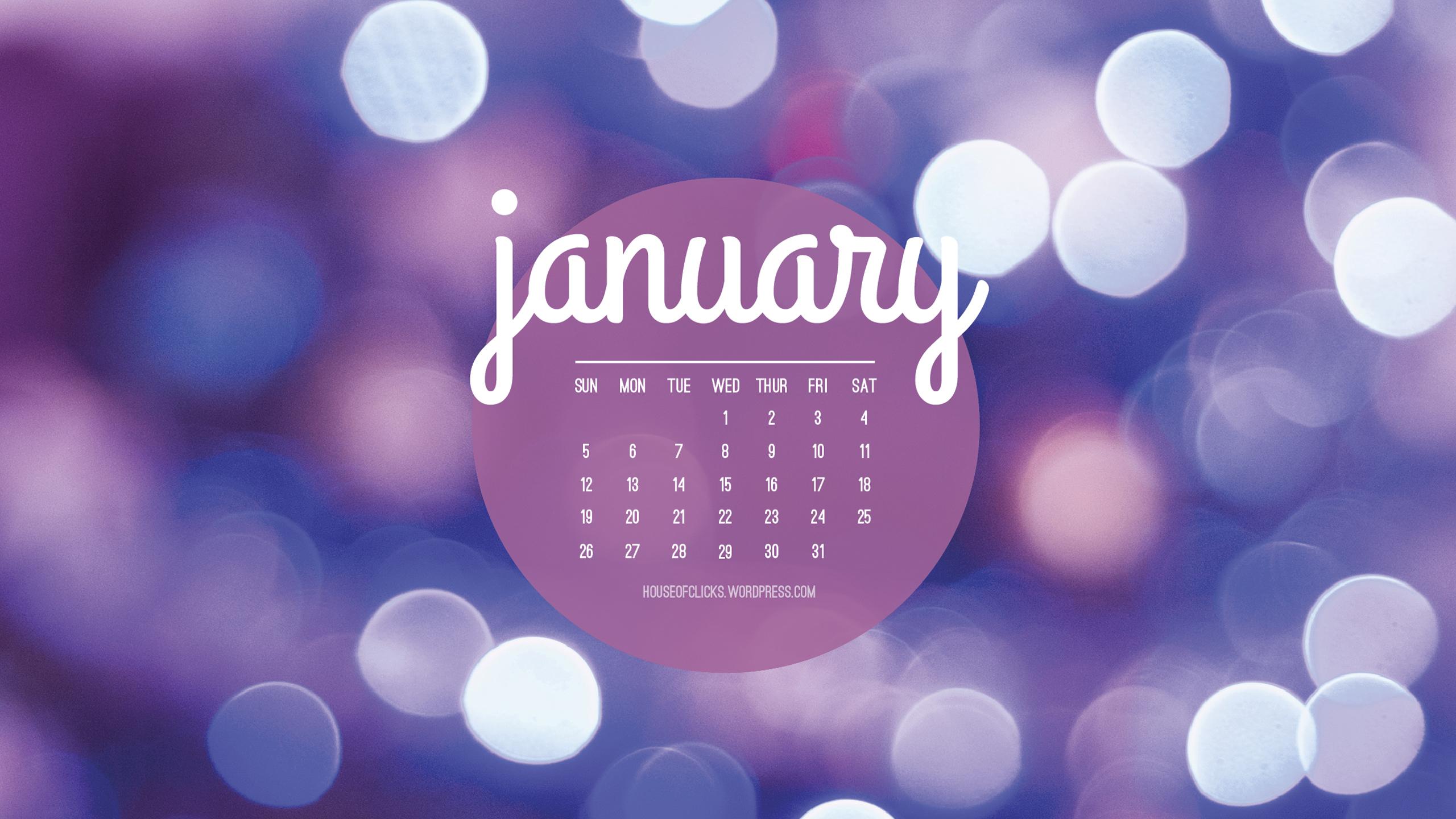 January 2014 Desktop Calendar House of Clicks 2560x1440