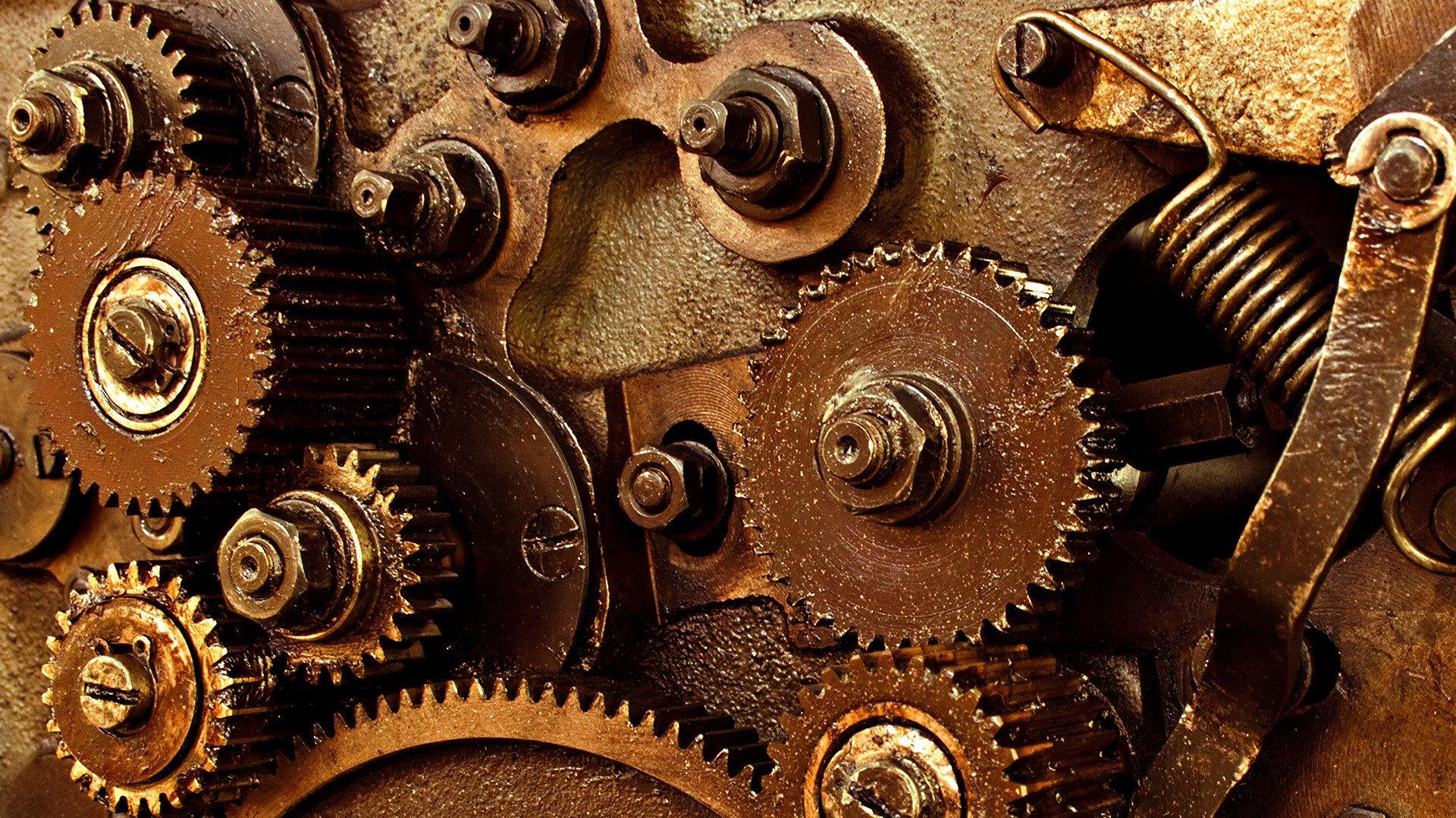 steampunk mechanism machine Engineering gear wallpaper background 1920x1080
