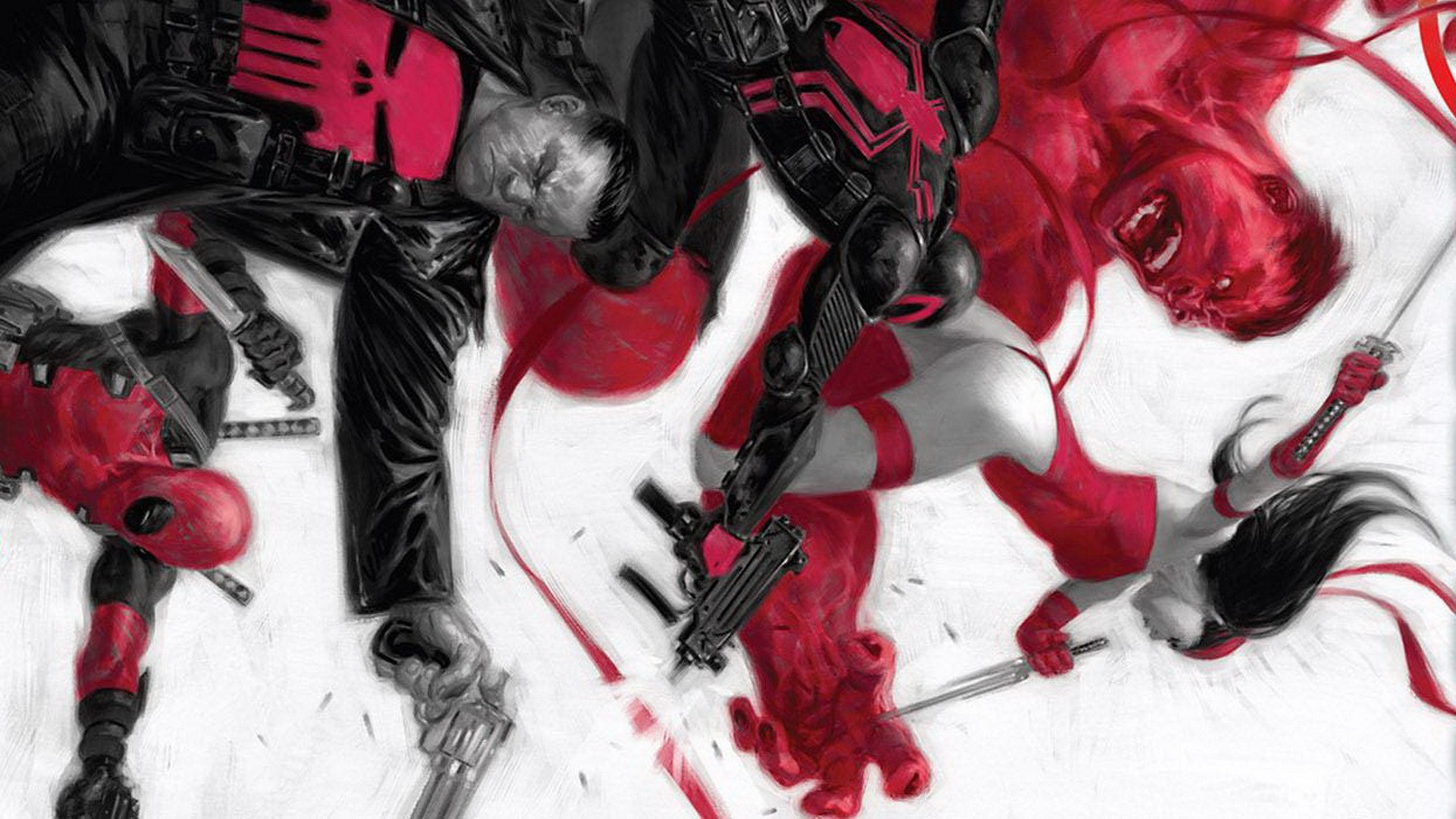 comics venom elektra deadpool wade wilson the punisher marvel comics 1920x1080
