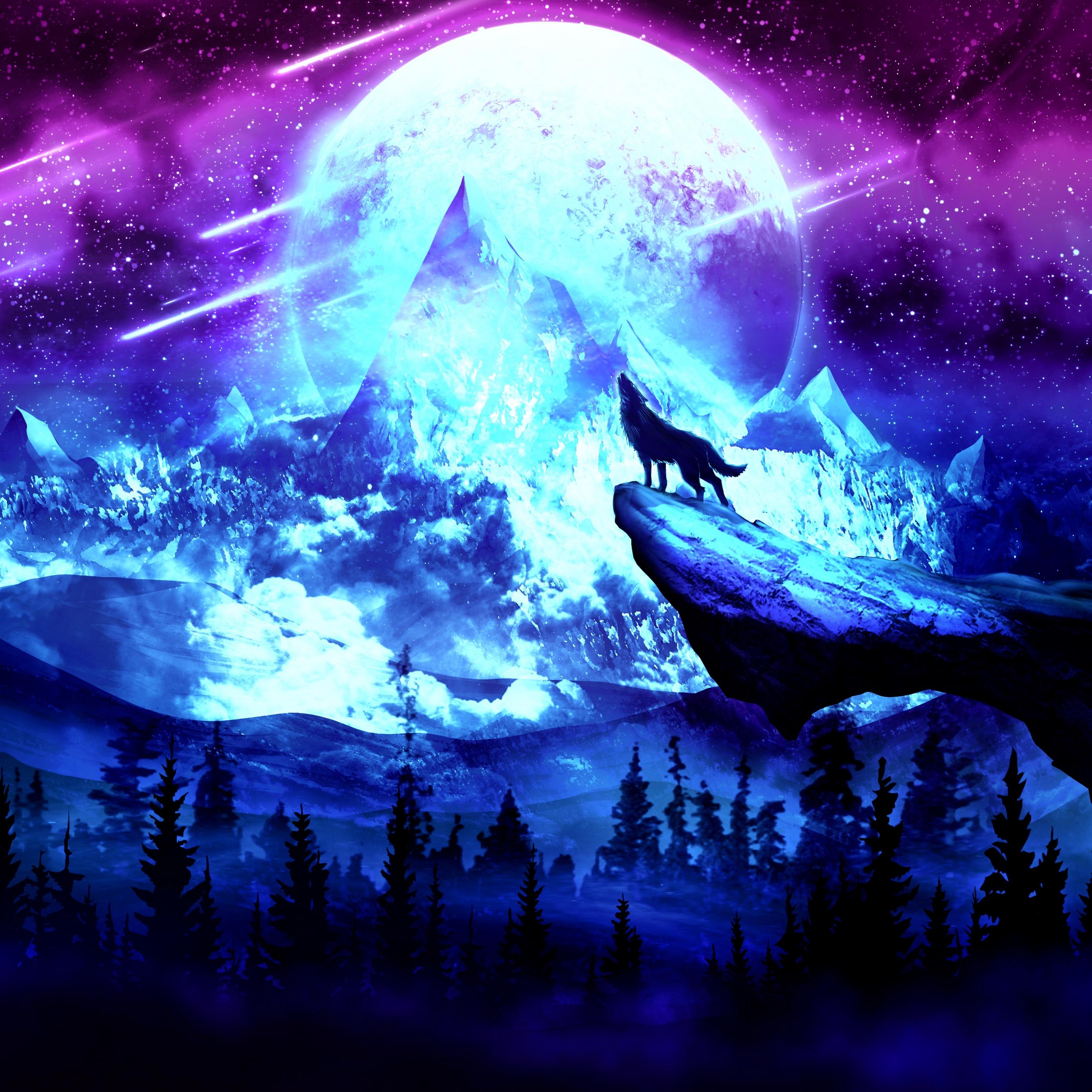 Download wallpaper 2780x2780 wolf moon night mountains art 2780x2780