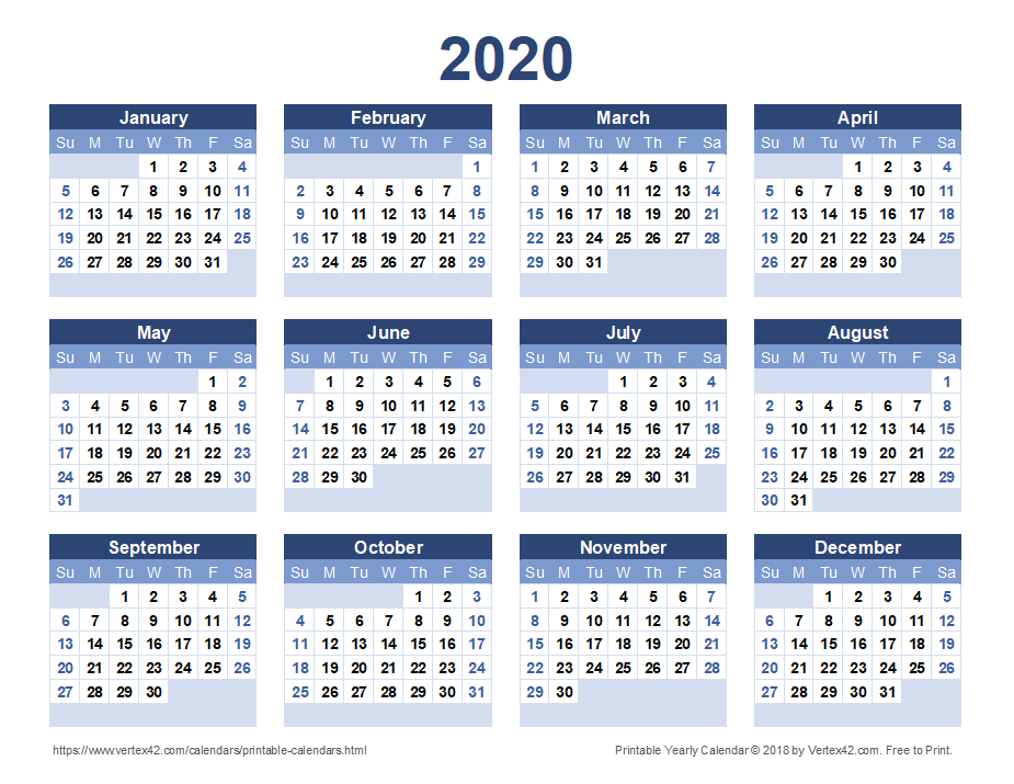 2020 Calendar Templates and Images 925x715