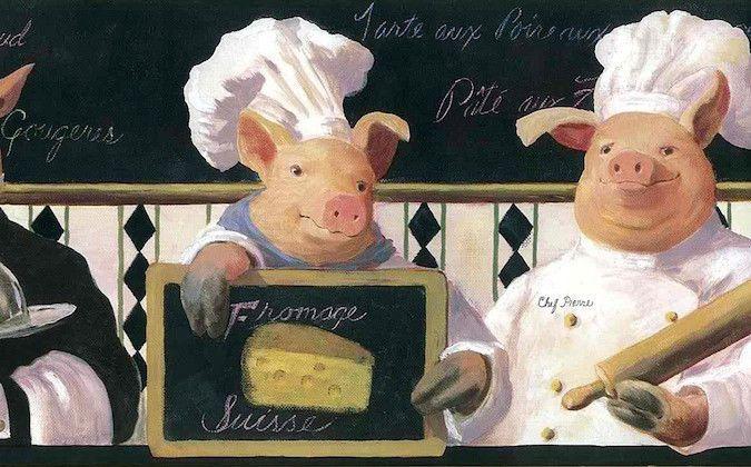 KITCHEN FRENCH CHEF Waiter PIGS Wallpaper Border Black White Pink 675x420