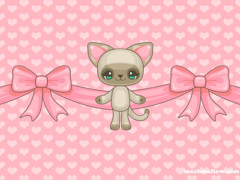 pink kawaii wallpaper with a cute kawaii kitty and two big pink bows .