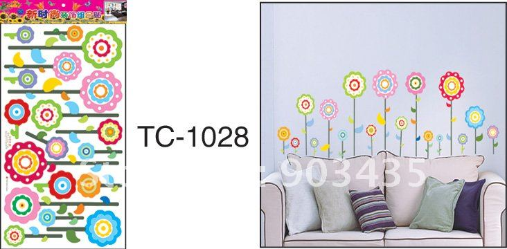 Flower Stripe Removable Wall Stickers VIine Border Girls Room Decor 732x360