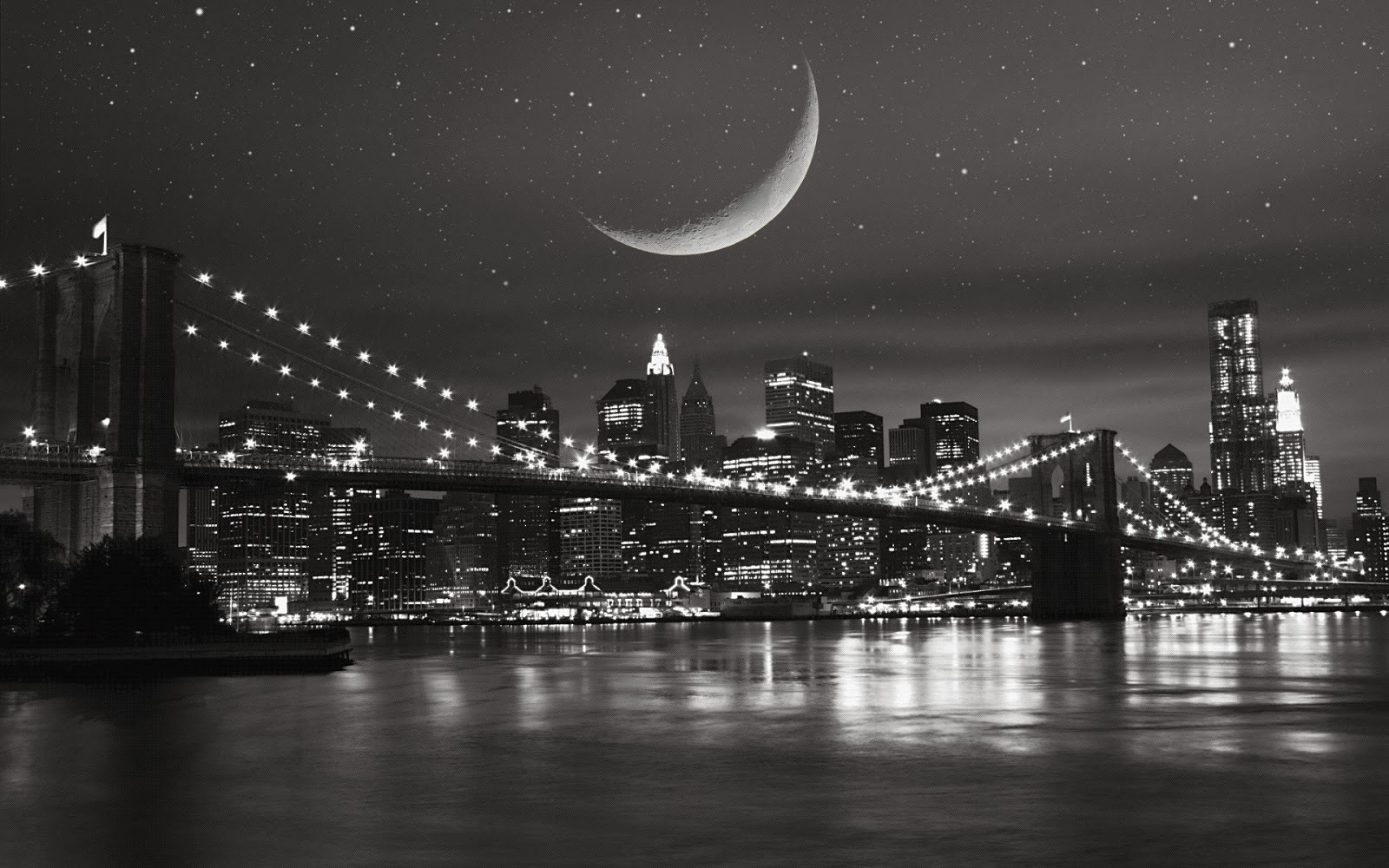 Android New Moon new york city black and white desktop wallpapers 1600x1000