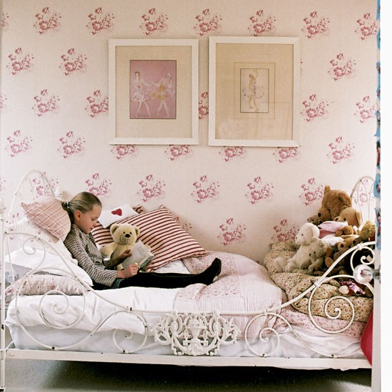 Girls pink bedroom South London home Homes Gardens house tour 550x550