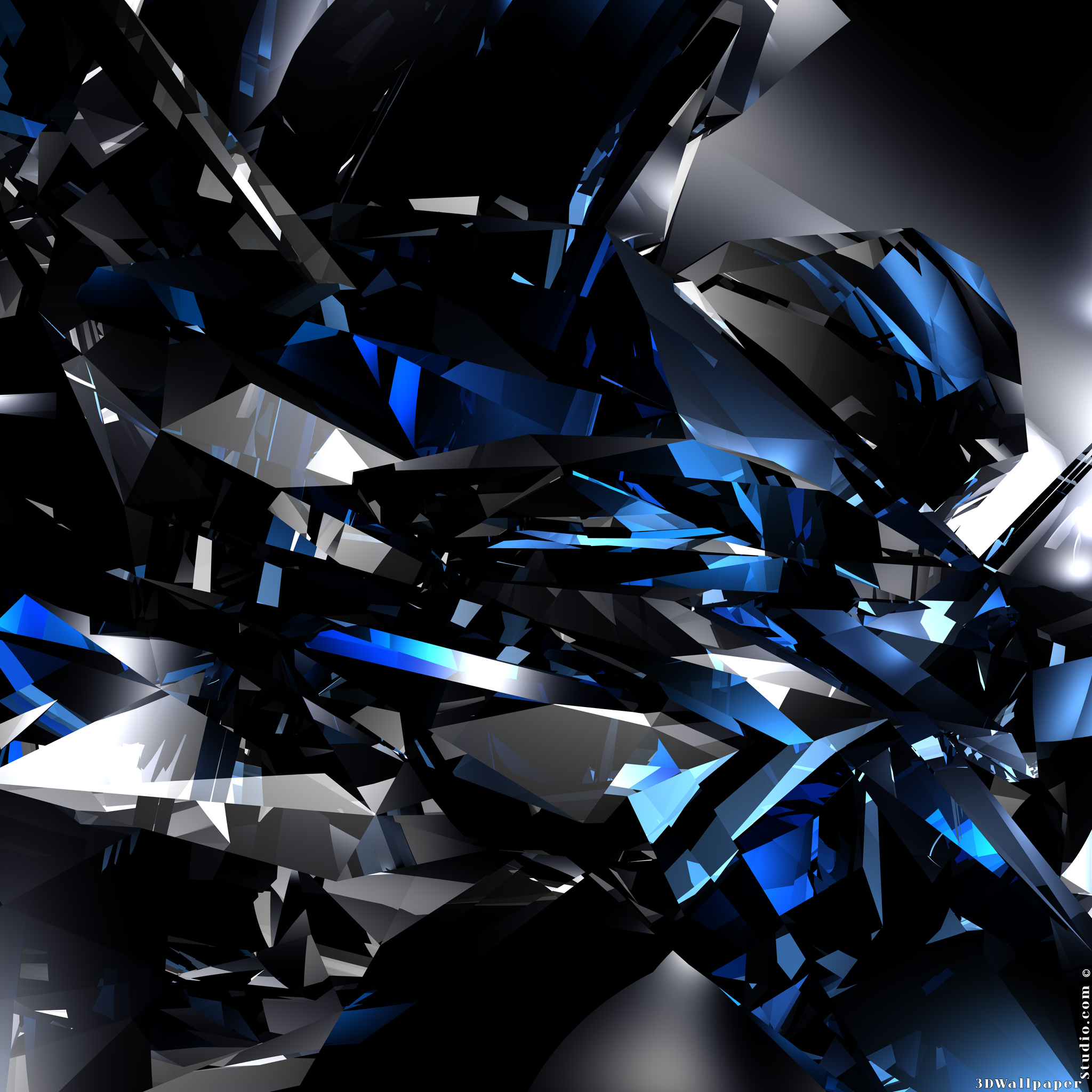 3D Wallpaper 3D blue crystals 2048 x 2048 2048x2048