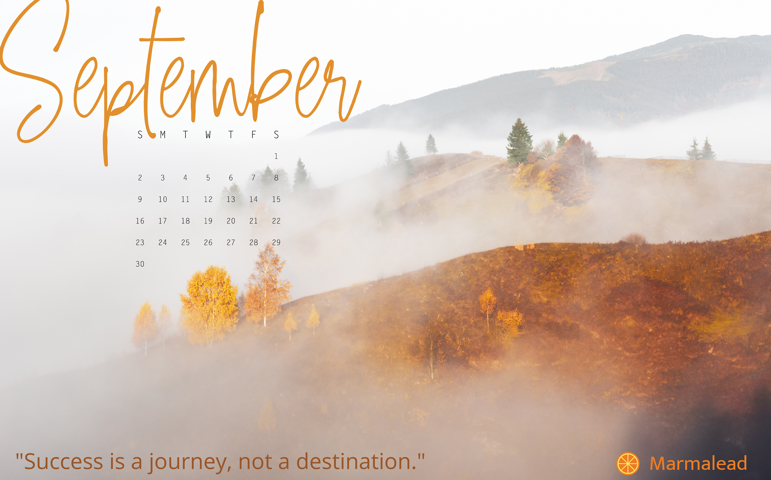 September 2018 Desktop Calendar from Marmalead 2560x1595