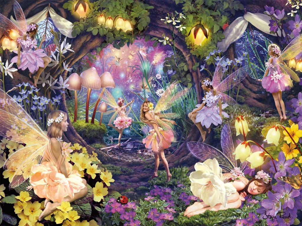 Fairy garden wallpaper wallpapersafari for Fairy garden wall mural