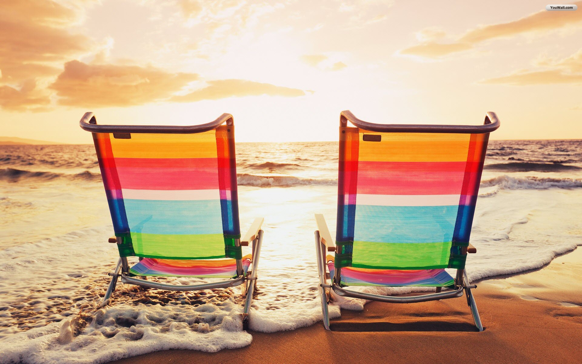 Beach chair and umbrella wallpaper - Youwall Beach Chairs Wallpaper Wallpaper Wallpapers Free Wallpaper