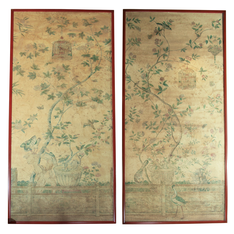 Pair of 18th Century Hand Painted Wall Paper Panels at 1stdibs 768x768