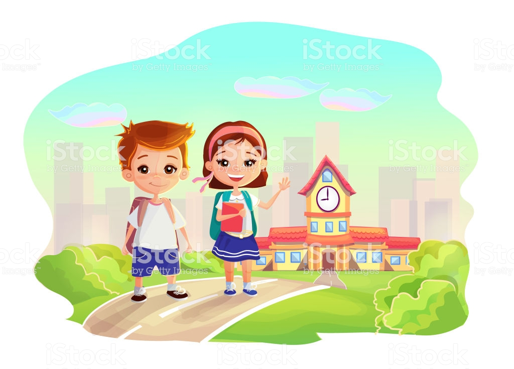 Cute Happy Little Kids With Backpacks And Books On School Building 1024x735