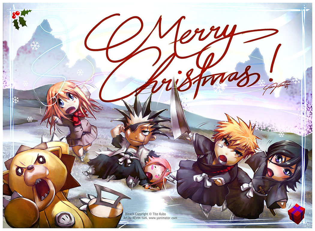 Kenpachi Inoue Orihime Christmas Anime Holiday Wallpaper 1050x770