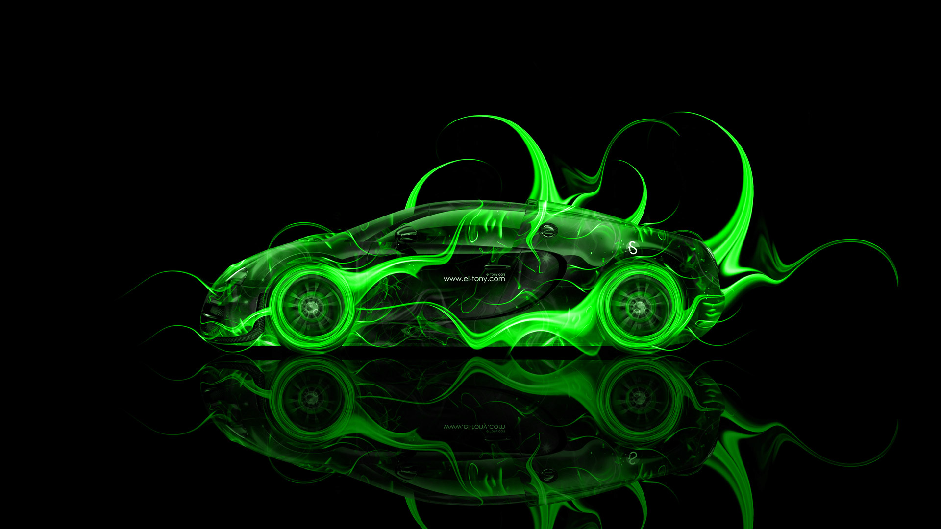 Bugatti Veyron Side Fire Abstract Car 2014 El Tony 1920x1080
