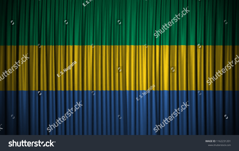 Gabon Flag Silk Wallpaper Background Backdrop Stock Illustration 1500x945