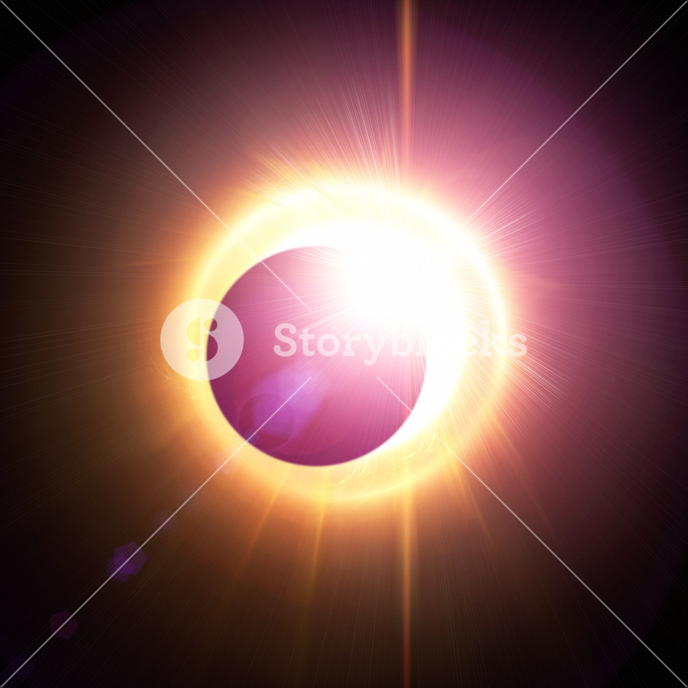 Abstract solar eclipse background with 3d rendered flares Royalty 1000x1000