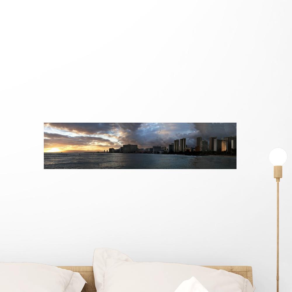 Waikiki Skyline Sunset Wall Mural WallMonkeyscom 1000x1000