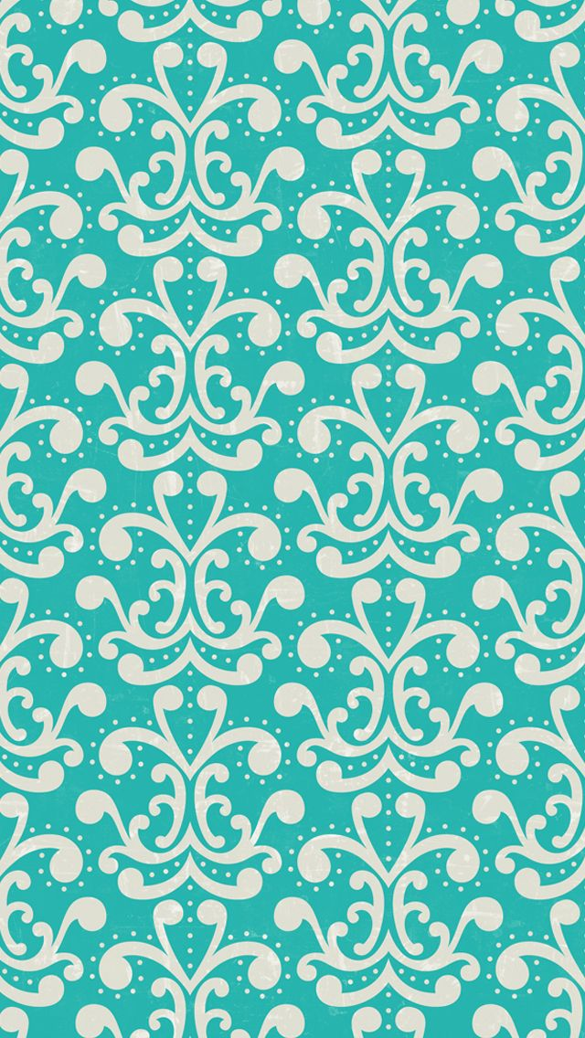 iphone 5 wallpaper   aqua damask pattern Iphone Wallpapers 640x1136