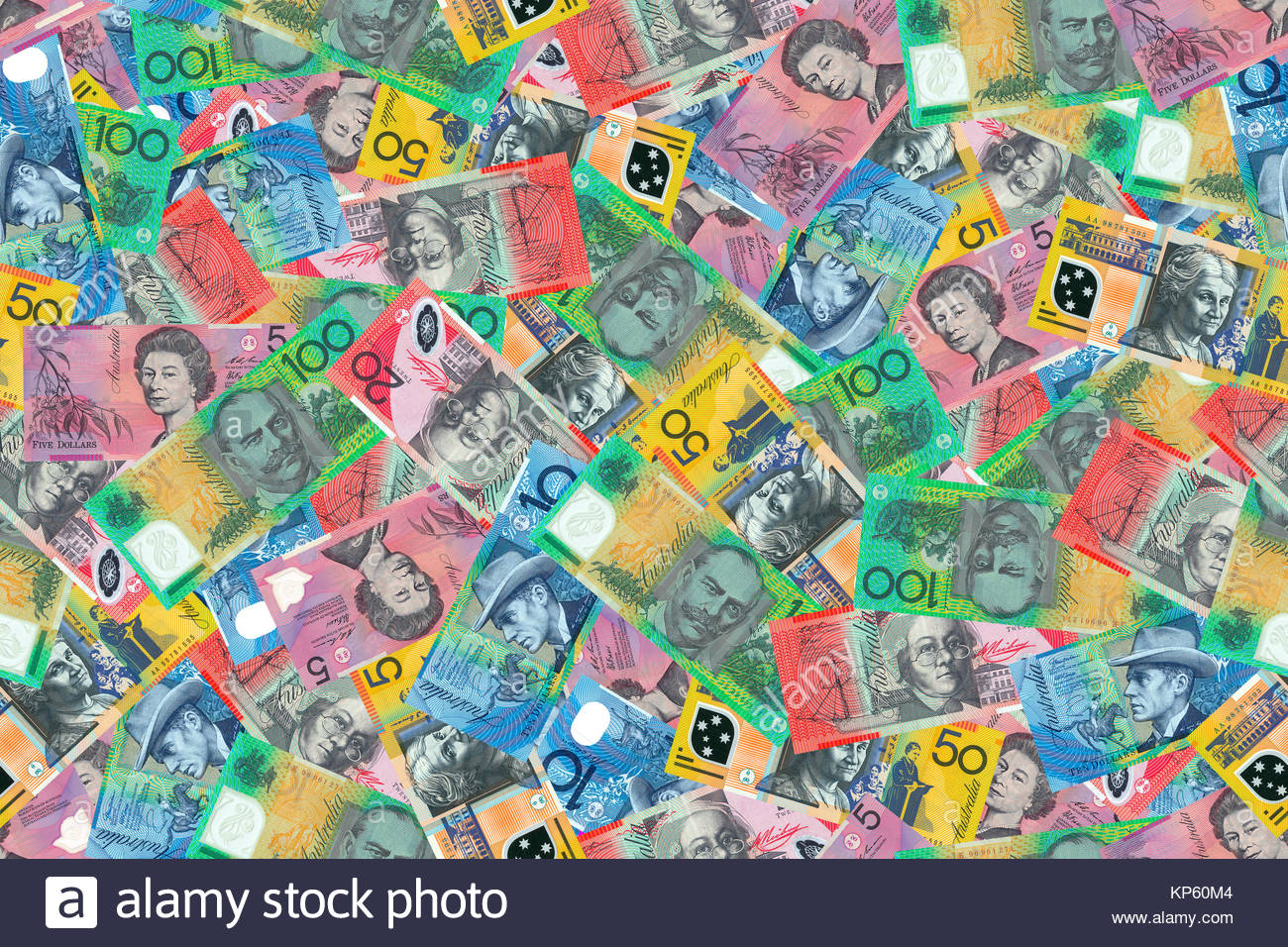 Motley background from chaotically scattered Australian dollar 1300x956