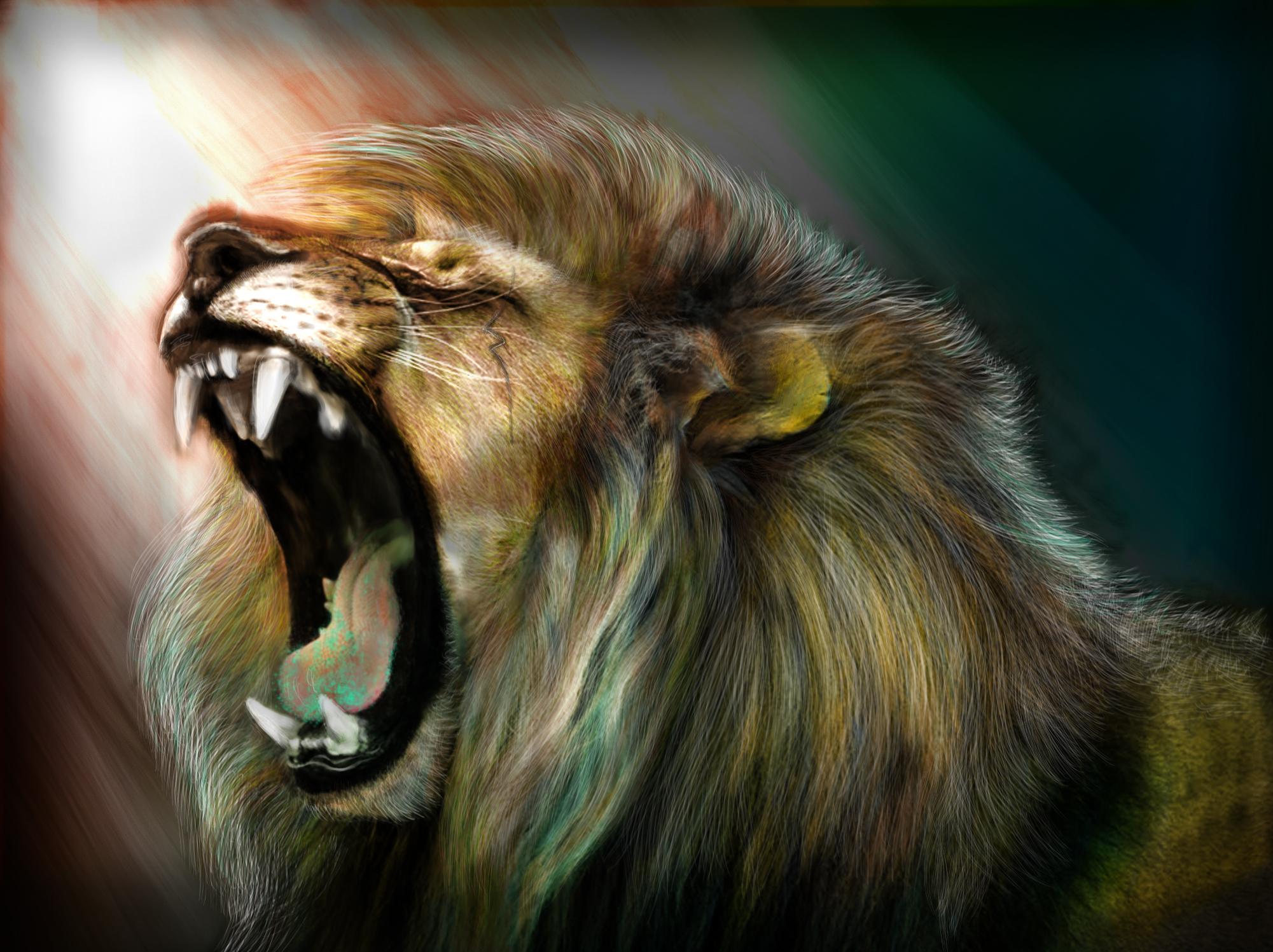 Art lion roar wallpaper 2001x1497 119179 WallpaperUP 2001x1497