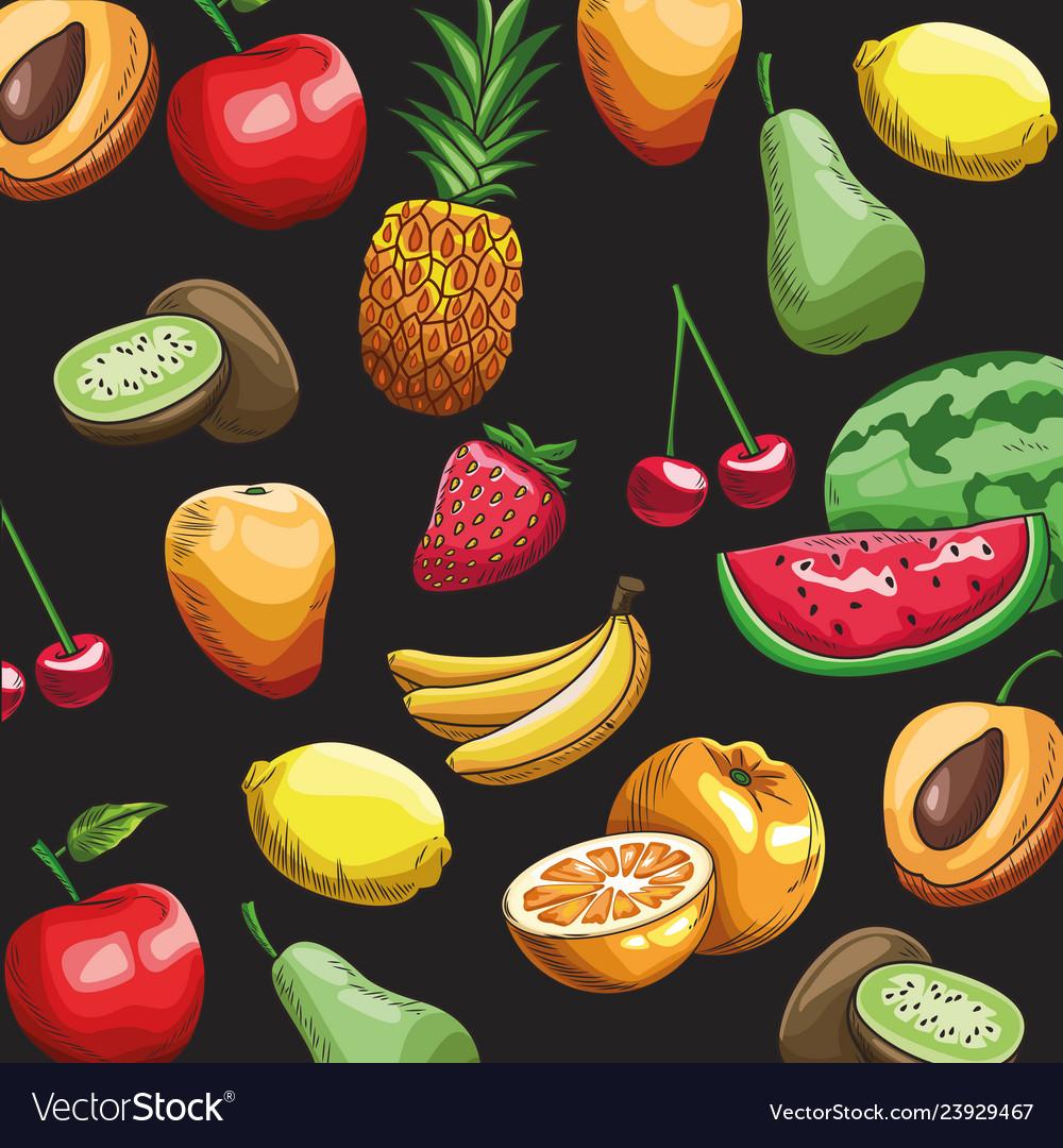 Hand drawn fruits wallpaper Royalty Vector Image 1000x1080