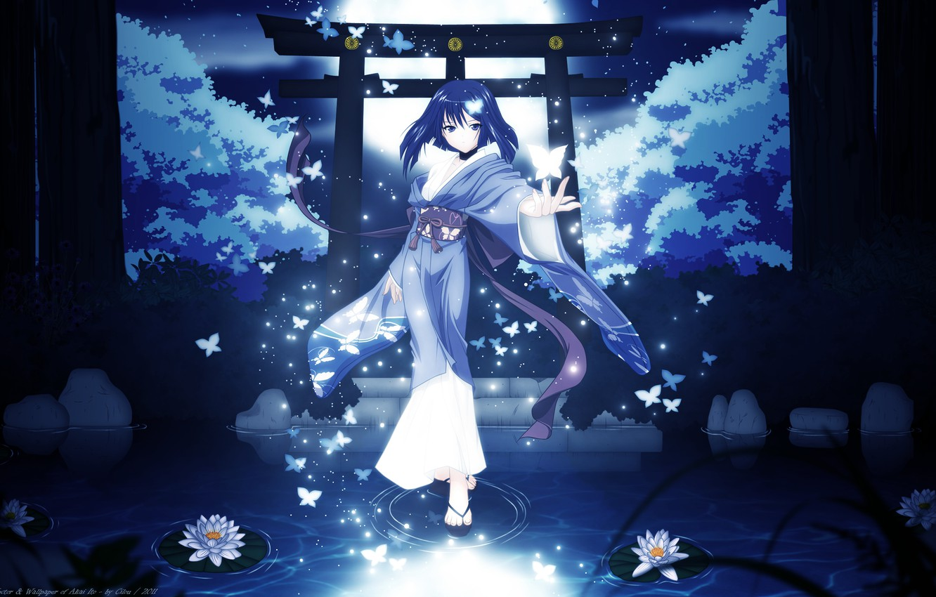 Wallpaper girl trees butterfly night nature the moon anime 1332x850