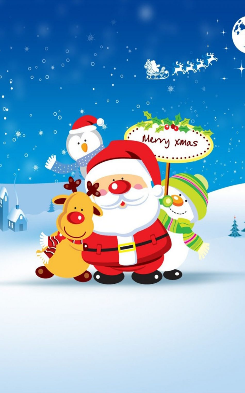 Download Merry Christmas Santa Cartoon Pure 4K Ultra HD 950x1520