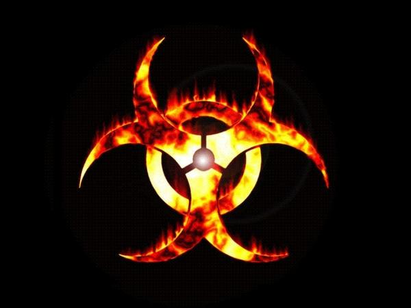 biohazard fire biohazard symbol black background 1024x768 wallpaper 600x450