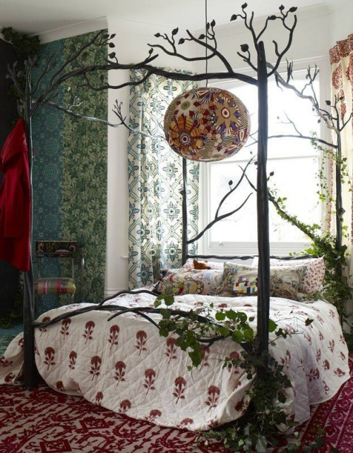 Hippie Gorgeous Bedroom Trees Boho Romance Lovely Peaceful Wallpaper 500x642