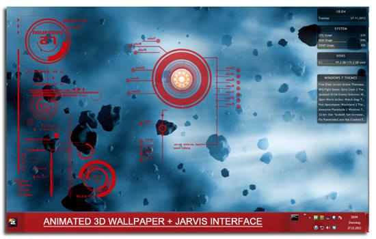 Windows 78 3D Themes Iron Man Jarvis UI   Hacking HOst 550x350