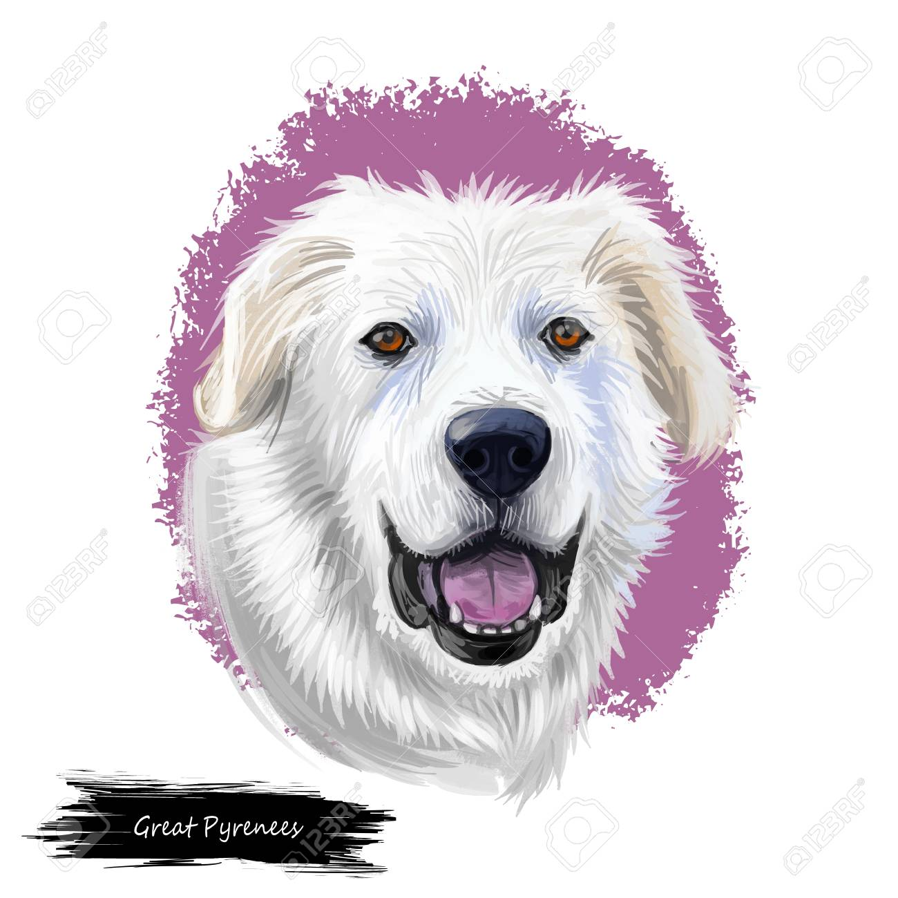 Great Pyrenees Pyrenean Mountain Pyr GP PMD Dog Digital Art 1300x1300