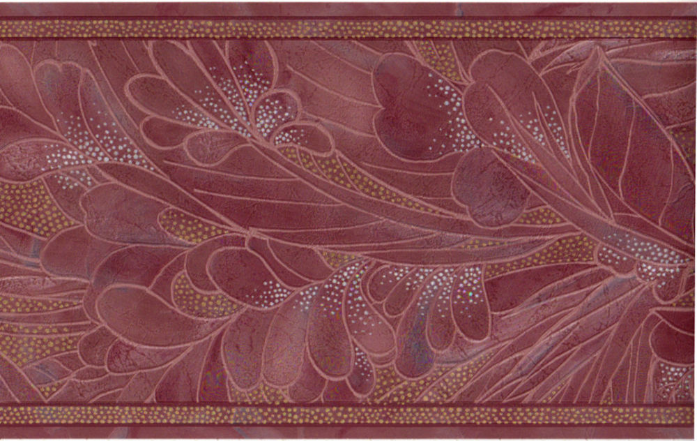 Burgundy Red Palm Leaf Floral Silk Reflective Wall Paper Border 1000x632