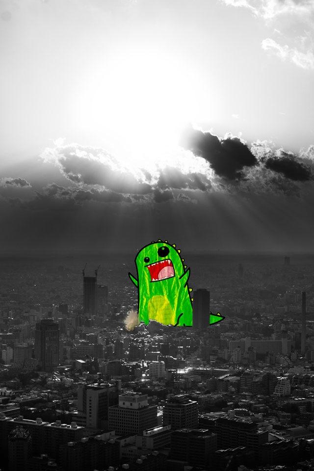 Download cartoons wallpaper Toon Godzilla with size 640x960 640x960