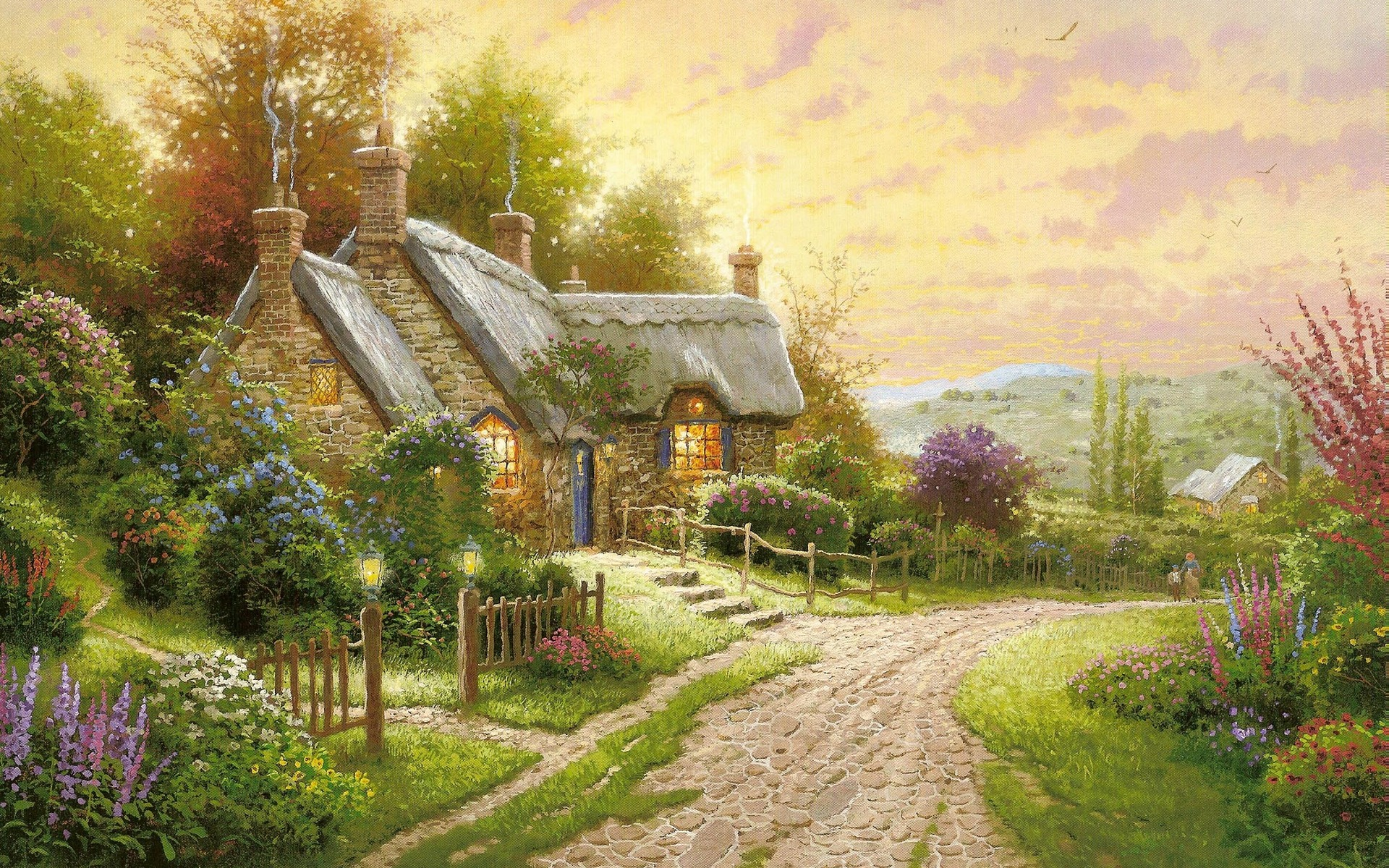 cottage house flowers road night painting HD Desktop Wallpapers 1920x1200