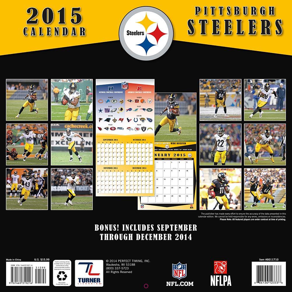 Football Pittsburgh Steelers Pittsburgh Steelers 2015 Wall Calendar 1001x1001