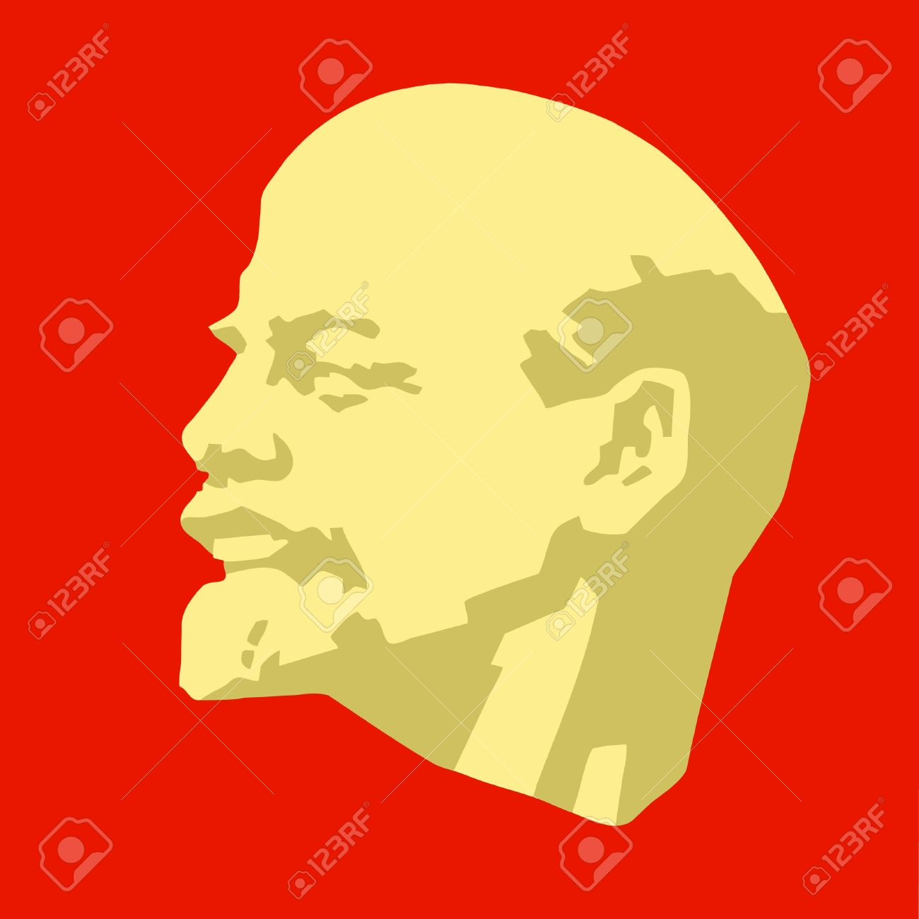 Silhouette Of The Lenin On Red Background Stock Photo Picture And 1300x1300
