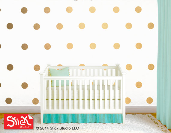 dot wall decals Gold polka dot wall decal Removable wallpaper 570x443